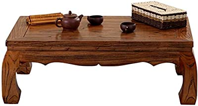 Selected Furniture/Tatami Coffee Table Bay Window mputer Desk Old Elm Chinese Tea Table Solid Wood Zen Desk Balcony Living Room Modern Coffee Table (Color : Brown, Size : 60 * 40 * 25CM)