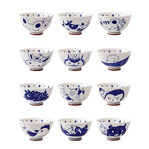 XCXDX 12 Set di Zuppiere, Ciotola in Ceramica Dipinta A Mano, Ciotola di Riso da 4,5 Pollici, Stile Cinese