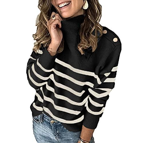 KeYIlowys SuéTer De OtoñO/Invierno Jersey De Cuello Alto con Correa para El Hombro SuéTer A Rayas Abotonado Mujer