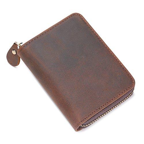 Kattee Unisex Vintage Look Genuine Leather Zipper Wallet Credit Card Holder Purse Photo #4