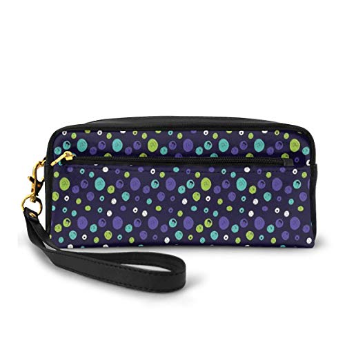 Pencil Case Pen Bag Pouch Stationary,Hand Drawn Pattern with Dots Sketch Geometric Composition on Dark Toned Background,Small Makeup Bag Coin Purse