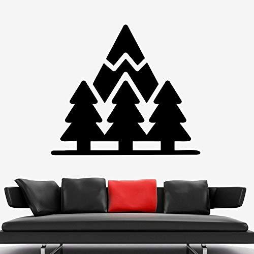 Dibujos animados bosque pared calcomanía pino árbol montaña vinilo natural ventana pegatina sala de estar oficina estudio decoración de interiores Mural
