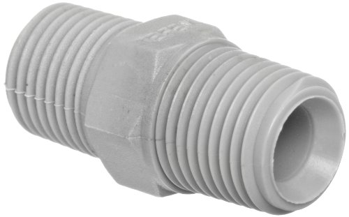 """Tefen Nylon 6/6 Pipe Fitting, Hex Nipple, Gray, 1/2"""" x 3/8"""" NPT Male (Pack of 5),12022308063"""