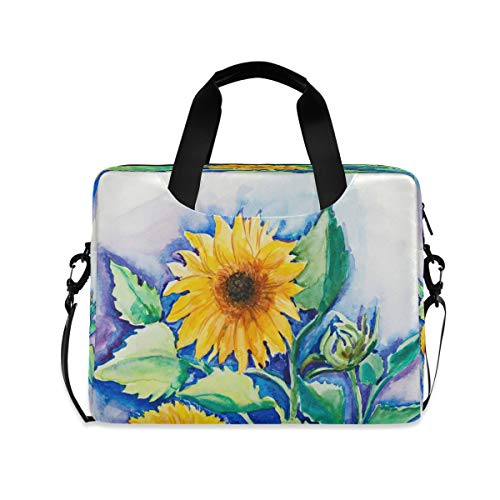 Laptop Bag Briefcase Shoulder Bag - Yellow Sunflowers Watercolor Painting 15.6 Inch Tote Bag Laptop Messenger Shoulder Bag Laptop Sleeve, Great to Travel, Office