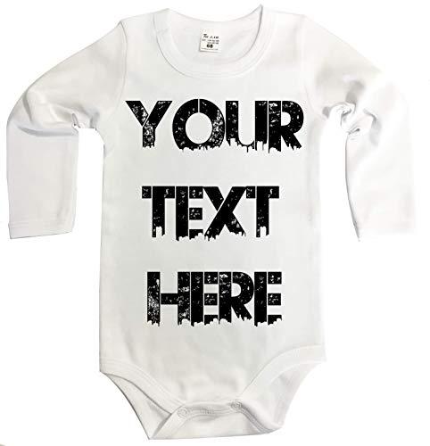 Ihr WunschText Hier Baby Langarm Body Selbst Gestalten Dein individueller Druck Personalisiert Babykleidung Strampler Unterwäsche Geschenk Überraschung Geburtstag Weihnachten (86 (16-24m), weiss)