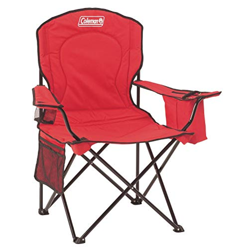 """Coleman Portable Quad Camping Chair with Cooler , Red, 37"""" x 24"""" x 40.5"""""""