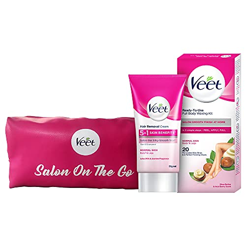 Veet Hair removal cream- Normal skin-50 gm &Full Body Waxing Kit Easy-Gelwax Technology Normal Skin - 20 Strips with free VeetGlow It Girl pouch