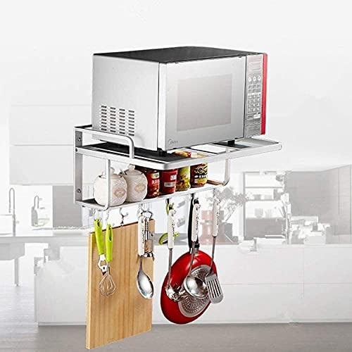 COLiJOL Estante de Alenamiento de Cocina Soporte de Soporte de Aluminio Horno de Microondas Estante de Montaje en Pared de Cocina Utensilios de Cocina Organizador de Alenamiento Estante de Acero Inox