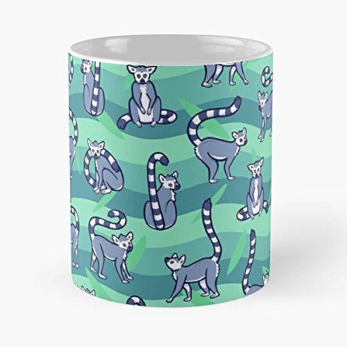 Lemur - Taza de café de cerámica con diseño de anillo de lemures con anillo para comer bocado de comida de John Best de 325 ml