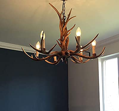 Shengdi Deer Horn 6-Light Iron Resin Industrial Retro Droplight Pendant lamp Ceiling lamp Ceiling light Chandelier Lighting Fixture for Restaurant Balcony Bedroom 1017C-6