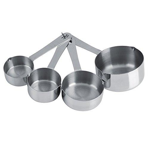 Lot de 4 Tailles Cuillères Doseuse à Café Cuillère à Mesurer en Acier INOX Alimentaire Mesure Tasses avec Poignées Cuisine