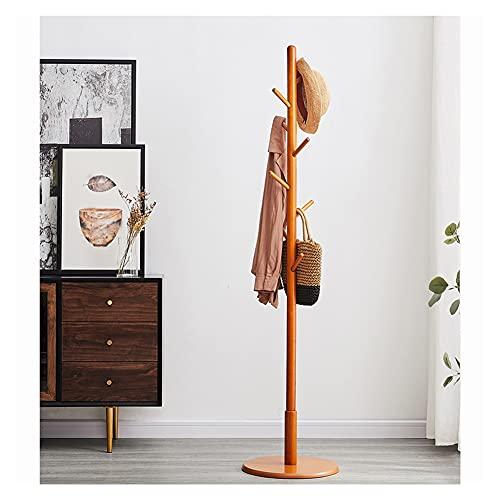 Stand Hat shist de la capa de madera de la capa de madera del estante de la capa de pie con 8 ganchos Base redonda estable Base moderna Chaquetas Perchas para la entrada del pasillo del dormitorio