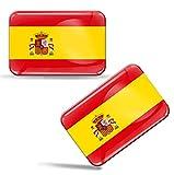Biomar Labs® 2 pcs 3D Gel Pegatinas Bandera Nacional de España Spain Silicona Adhesivo Autos Coches Motos Ciclomotores Bicicletas Ordenador Portátil F 31