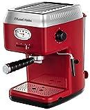 Russell Hobbs Espressomaschine Retro Rot Siebträger (15 Bar, 2 Tassen-Einsätze, 1,1l abnehmbarer...