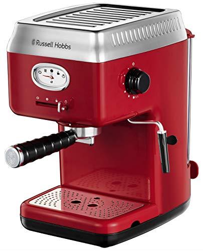 Russell Hobbs Machine Expresso, Chauffage Thermobloc, Pompe à Pression 15 Bars, Baguette Vapeur pour Mousser le Lait - Rouge 28250-56 Retro