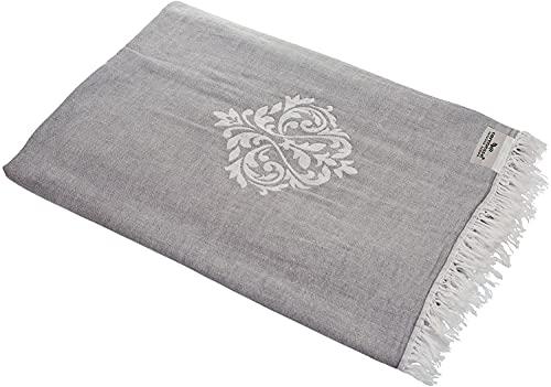 Carenesse Tagesdecke Ornament grau, 180 x 210 cm, 100% Baumwolle, leichte dünne beidseitig schöne Decke mit kurzen Fransen, Überwurf für Bett Sofa und Couch, Tischdecke, Dekodecke