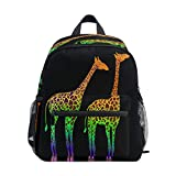 RXYY Mochila para niños con diseño de jirafa africana colorida, con hombros negros, mochila escolar con correa para el pecho para niñas y niños
