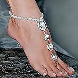 Handcess Bracelets de cheville en cristal d'or Boho Bracelets de cheville en cristal aux...