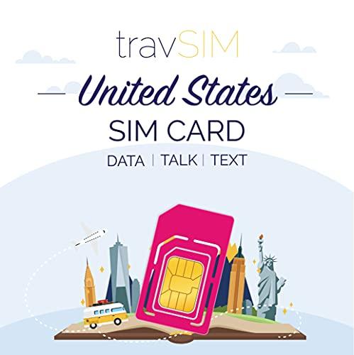 travSIM T-Mobile Prepaid USA SIM-Karte - 50GB Mobiles Internet, Unbegrenzt Gespräche &Texts für Die US - Hotspot Erlaubt - 4G LTE für 7 Tage