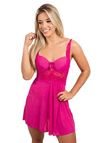Camisola Com Bojo Lingerie Sexy Renda Curto Noite Lisa Feminino Linha (G, rosa)