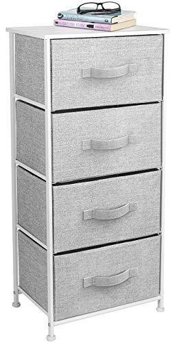 Sorbus Dresser with 4 Drawers - Tall Storage Tower Unit Organizer for Bedroom, Hallway, Closet, College Dorm - Chest Drawer for Clothes, Steel Frame, Wood Top, Easy Pull Fabric Bins (White/Gray)
