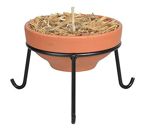 zeitzone Feuerschale Wachs Stroh Terracotta Gartenfackel + Ständer Metall schwarz