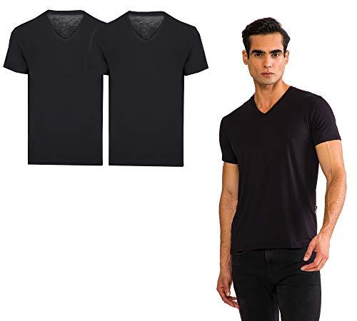 THERMOFORM TF Set di 2 t-shirt da uomo con collo a V in 100% fibra di bambù biologico equo e solidale a scelta in nero o bianco Nero  M