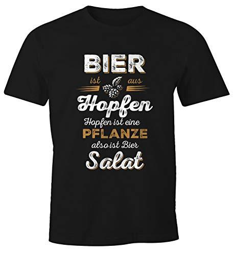 MoonWorks Herren T-Shirt Bier ist aus Hopfen, Hopfen ist eine Pflanze Also ist Bier Salat Fun-Shirt Spruch-Shirt schwarz XL