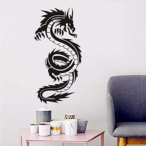 Hllhpc Vintage Chinese draak silhouet wandsticker jeugdkamer kinderkamer vinyl wandsticker wandsticker 42 x 86 cm
