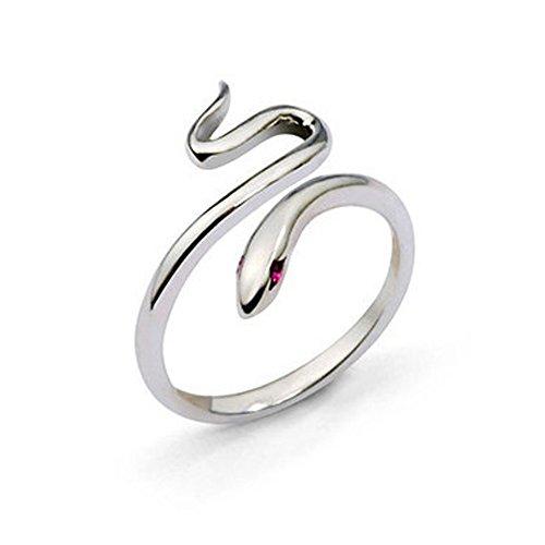 minjiSF Anillo de serpiente fino para mujer de plata ajustable con personalidad sencilla anillos de boda no se decoloran joyas anillo de amistad anillo de mujer (plateado)