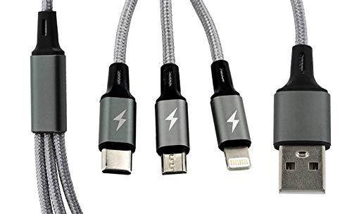 Callstel Ladekabel: 3in1-Schnellladekabel: Micro-USB, USB Typ C & Lightning, Textil, 120cm (Ladekabel USB)