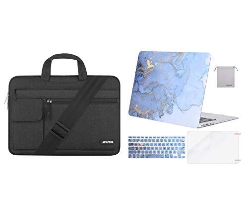 MOSISO Plastic Watercolor Marble Hard Case & Laptop Briefcase Shoulder Bag Compatible with MacBook Air 13 (A1369 & A1466, Older Version 2010-2017 Release), Blue & Black