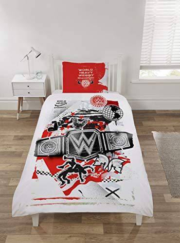 Coco Moon WWE World Heavy Weight Kids Single Or Double Bed Duvet Bedding Set Genuine Wrestling Bedroom Merchandise (Single)