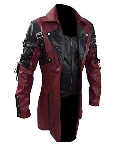 Shujin Chaqueta de Piel sintética para Hombre, Estilo gótico, Ajustada, Chaqueta de Piel para Moto, con Cremallera, con Cordones