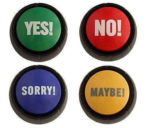 Granatan Ja, Nein, Entschuldigung, Vielleicht (Yes, NO, Sorry, Maybe) – Sound Tasten - Sprechtaste - Buzzer Button - Kinderspielzeug Buzzer Mit Sound