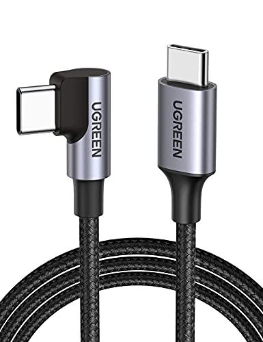 UGREEN Cable USB C a USB C PD Carga Rapida 20V 3A 60W Cargador USB Tipo C 90 Grados PowerDelivery para Macbook Pro 2019, MacBook Air, iPad Pro 2020, Xiaomi Mi 10, Samsung S21 S20, Huawei P40, 2 Metros