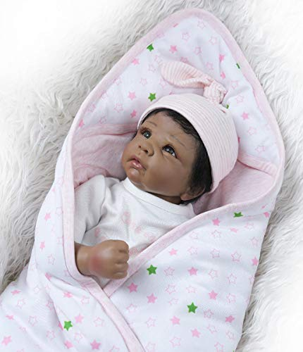 TERABITHIA 20inch 50cm Realistic Reborn Baby Doll in Silicone Vinyl Black African-American Stuffed Cloth Body Newborn Dolls That Look Real and Feel Real Child Xmas Gift