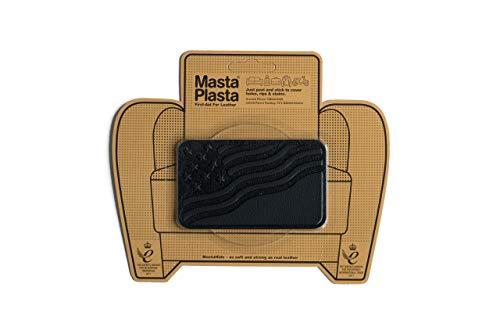 MastaPlasta Self-Adhesive Premium Instant Leather Repair Patch, Flag. 4 x 2.4 Inch. Black. First-aid for Sofas, Car Seats & More