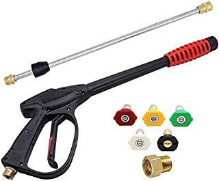 Twinkle Star 3000 PSI High Pressure Power Washer Gun with 21 Inch Replacement Wand, Power Washer Gun with M22-15 or M22-14 Fitting, 5 Nozzles Tips, TWS139