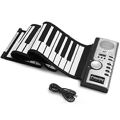 Best Review Of Hand Roll Piano, Portable Foldable 61 Key Pianoforte Electronic Keyboard MIDI Out Fun...