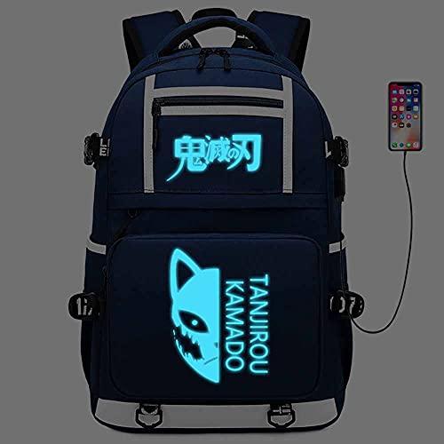 Mochila de estudiante luminosa de gran capacidad, mochila escolar de anime, para Kimetsu No Yaiba y Demon Slayer