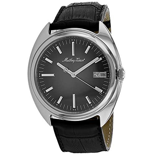 MATTHEY-TISSOT Correa de cuero de cuarzo de acero inoxidable para hombre, negro, 22 reloj casual (Modelo: EG1886AM)