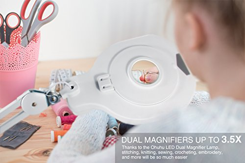 Ohuhu Ultra 81 LED Dimmable LED Magnifying Glass Desk Lamp for Close Work - Bright, Lighted Magnifier with A Superbright LED and 6 UV LED for Reading, Crafts & Pro Tasks - 3.5X Magnification