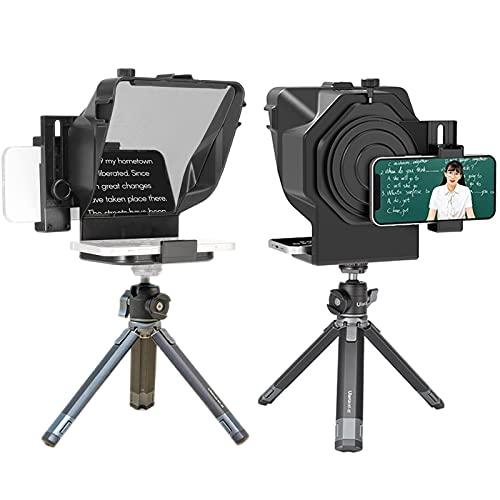 Teleprompter para Youtube Tiktok Video Live Streaming, teléfono Inteligente, cámara DSLR, portátil, con Control Remoto y Anillo Adaptador de Lente (Color : For Phone~with Stand)