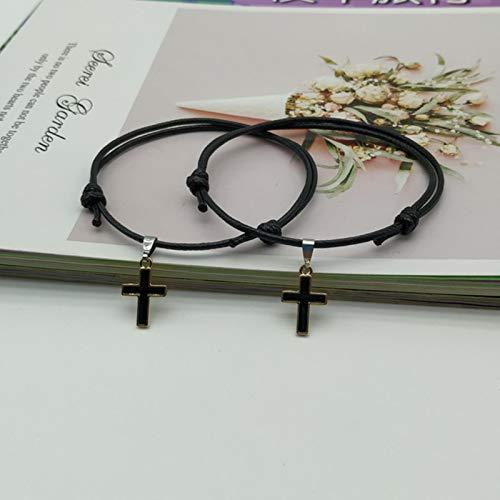 2 unids/Lote Pulsera de Pareja Cruzada Moda Blanco Negro Color Encanto Pulsera Regalo para Amigo joyería Hecha a Mano