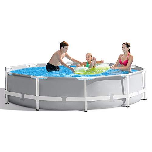 Piscinas de 10 pies x 30 pulgadas, sobre el suelo Greywood Prisma Marco de metal de acero Juego de piscina premium con bomba de cartucho de filtro y revestimiento de piscina, para nadar al aire libre