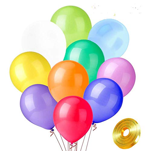 Rainbow Party Balloons, 100 Pack 12 Inch Premium Multi Color Balloons for Party Decoration Birthday Party Supplies or Arch Decoration