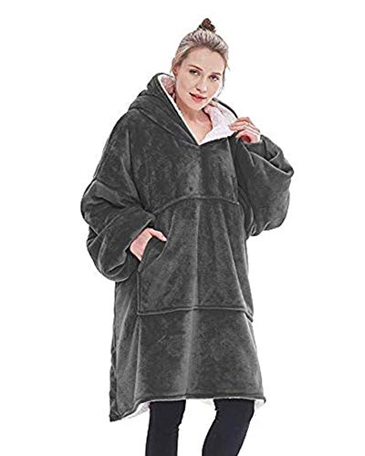 Blivener Oversized sweatshirt blanket, unisex Sherpa hooded blanket, portable cuddly blanket with sleeves and pocket. - Grey - One size