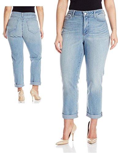C'est TOI Crop Women's Plus Size Stretch Boyfriend Blue Denim Jeans (1X)