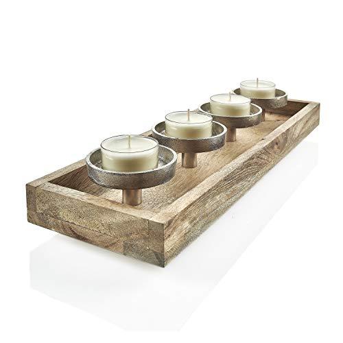 Kerzenleuchter Mangoholz mit Aluminiumhaltern | ohne Dorn | Kerzenhalter | Kerzenständer | ideale Tischdeko | 47 x 15 x 8 cm